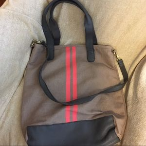 Gap cloth and leather tote